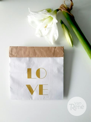 Van René Love Small Goud Paper Bag