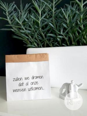 Van René Zullen we Dromen Small Zwart Paper Bag